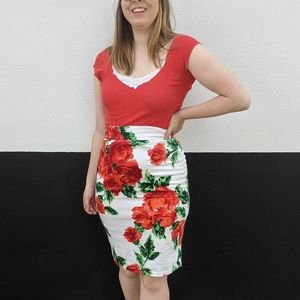 Pin up couture floral red rose pencil skirt xl